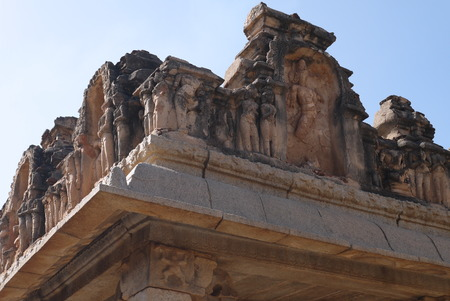 remained: Stone bas-reliefs on walls the remained temples in Hampi, in India