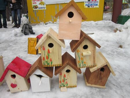 lodges: Self-made lodges for birds are ready to arrivals of feathery singers Stock Photo