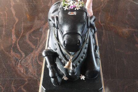 nandi: figurine of a bull of Nandi in the roadside Hindu temple