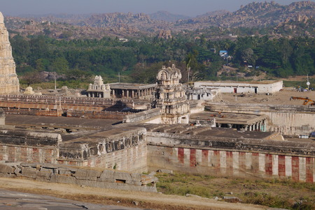 the natural phenomena: View from the hill on the most ancient operating Virupakshas temple in the village of Hampi in India