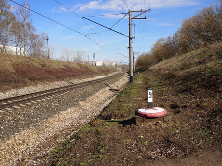 railroads: The hundred-meter sign established along lines of the railroads for designation of distances Stock Photo