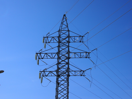 long distance: The high-voltage line is constructed for transportation of electricity on a long distance