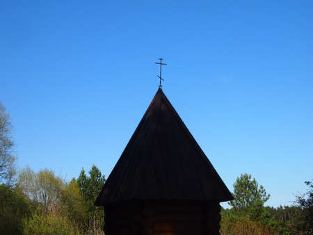chapel: timbered Christian chapel in the reserved wood Stock Photo