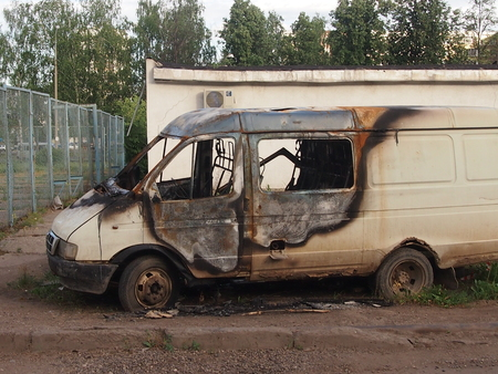 burned out: The burned-out passenger compartment because of short circuit of an elektoroprovodka Stock Photo