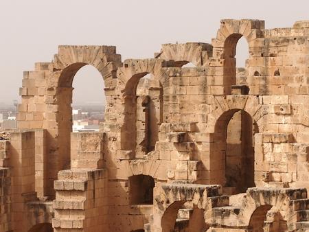 representations: ancient antique amphitheater in the city of El Djem in Tunisia