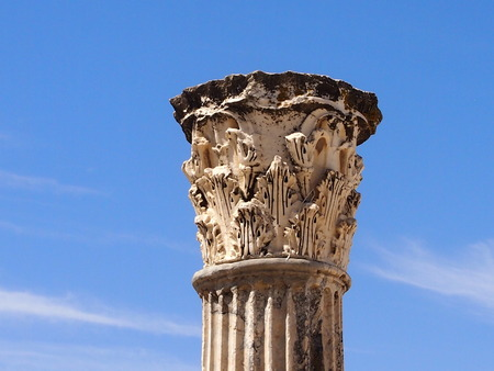 the upper part of a column with a stucco molding in the territory Anthonys term in Carthage Stock Photo