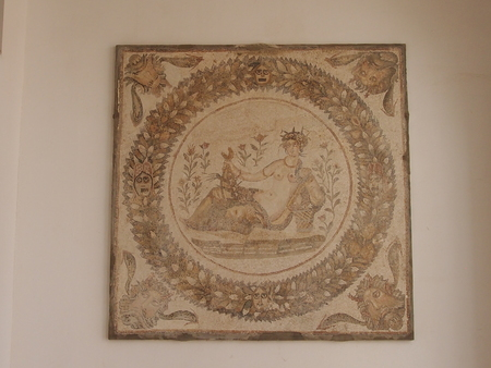 place of interest: the image of the goddess of fertility on a bas-relief of ancient Carthage