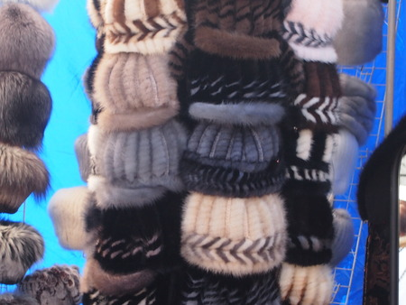 sale of winter fur headings in the market