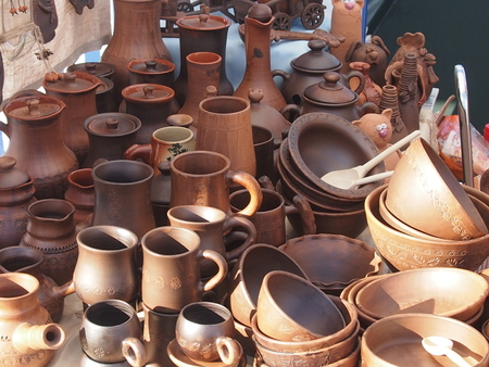 potters wheel: ware from clay made on a potters wheel