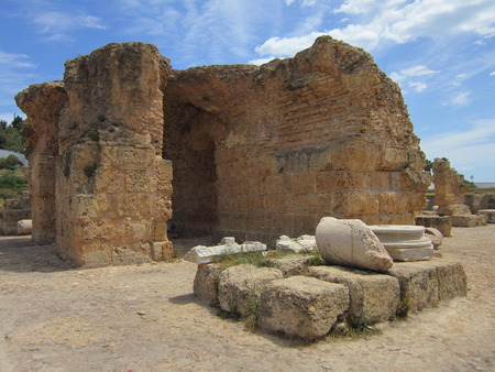 The remained remains of columns of the destroyed ancient city of Carthage