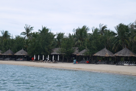 The sea sandy beach equipped with plank beds and canopies from the sun