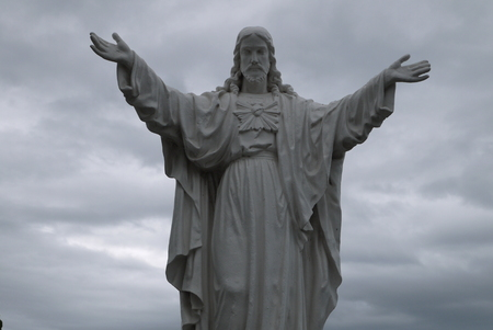 Jesus Christs sculpture at an entrance to the Cathedral Nha Trang, Vietnam Stock Photo