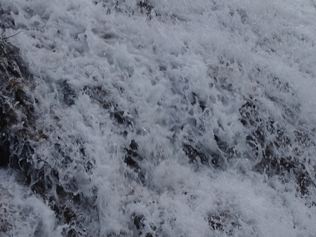 The raging and roaring falls stream close up