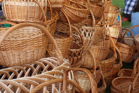 Wicker baskets from willow rods for mushrooms and berries