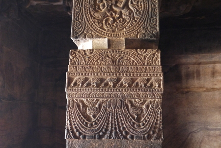 Carved ornament on the walls and columns in ancient Indian temples Stock Photo