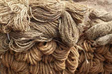 Ropes from natural materials in the ware market Stock Photo
