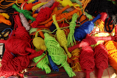 Hanks and coils of multi-colored threads and ropes Stock Photo