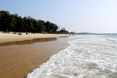 Wide Islands of the GOA in India with yellow sand and the warm sea