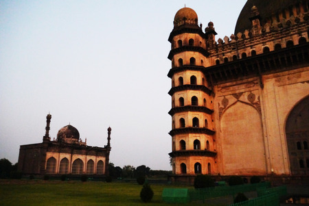 seven-level towers of the mausoleum the Goal Gumbaz in the city of Bidzhapur in India