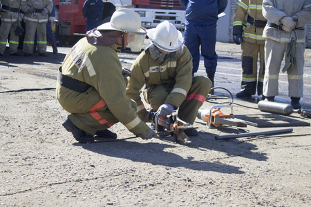 Firefighters practice victim support skills during the exercise