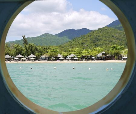 Beautiful round landscape, view through the window from the sea Stock fotó