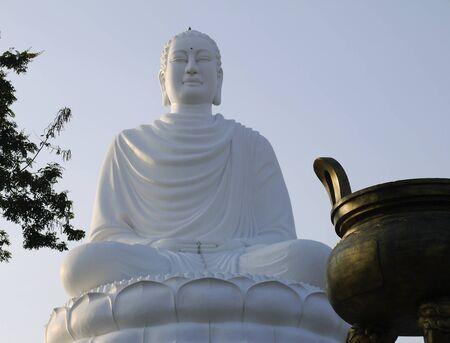 Huge white Buddha statue in Nyachang in Vietnam