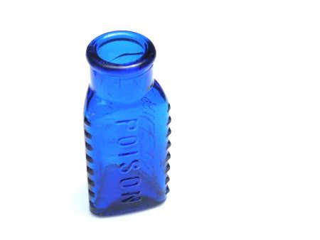 Blue vintage bottle on white background               Imagens