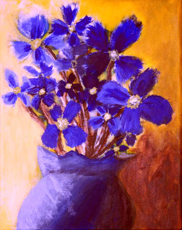 Blue flowers in a blue vase