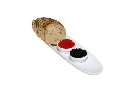 Caviar and bread with pumpkin seeds photo