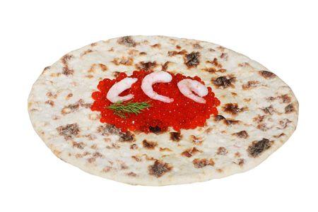Red caviar  with shrimp on  flatbread photo