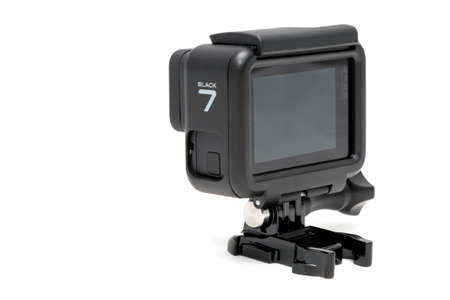 Moscow. November 2018.  GoPro HERO 7 Black product in plastic protective case at stand. The action camera with new feature fuctions hypersmooth, Live stream, TimeWarp and SuperPhoto.