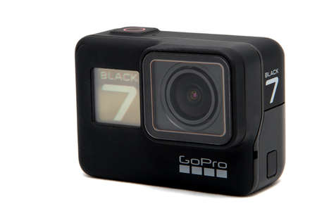 Moscow. November 2018.  GoPro HERO 7 Black product front and up side view. The action camera with new feature fuctions hypersmooth, Live stream, TimeWarp and SuperPhoto.