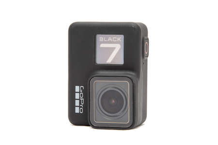 Moscow. November 2018.  GoPro HERO 7 Black product front and side view. The action camera with new feature fuctions hypersmooth, Live stream, TimeWarp and SuperPhoto. Editorial