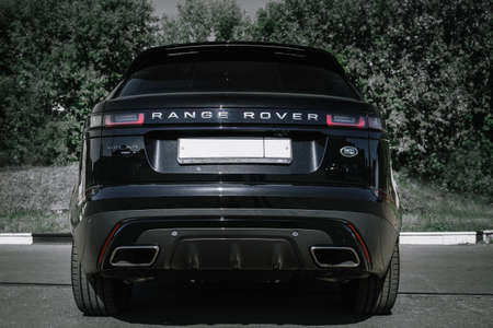 Moscow. Autumn 2018. The Land Rover Range Rover Velar in Black color compact luxury crossover SUV in the industrial zone Editorial
