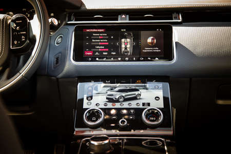 Moscow. Autumn 2018. Interior of The Land Rover Range Rover Velar in Black color compact luxury crossover SUV