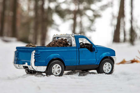 A toy. Blue pickup truck in winter forest on the road. Carrying fir cones in the back of a car body