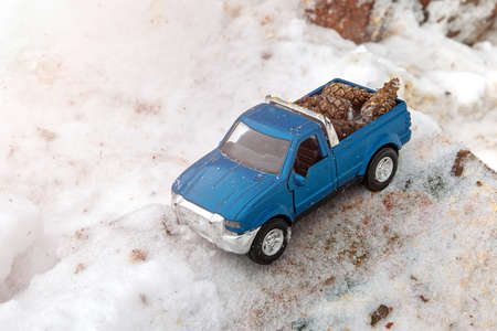 Blue toy pickup truck in sawmill. Stuck at snowdrift and sawdust. Carrying fir cones in the back of a car body.