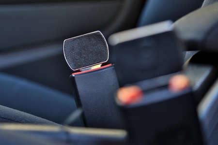 Not locked. Car Seat Belt buckle up. Don't closed. Danger. Standard-Bild - 116140520
