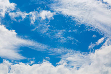 Texture. Bottom up view. Just blue sky and white clouds. No sun.