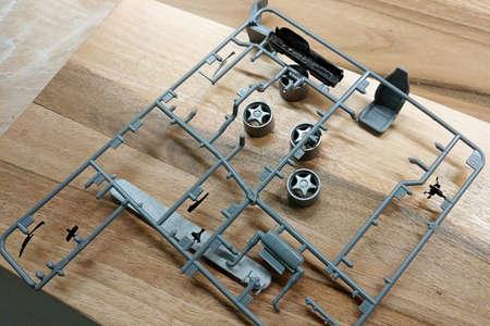 Plastic details of the scale model of a toy car. Modeling. Reklamní fotografie