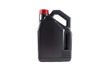 Black plastic motor oil canister 5 litres. Isolated on white background.