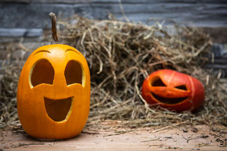 Two halloween pumpkins lie on the hay against the background of a gray stone wall. red blurred at background, yellow in foreground