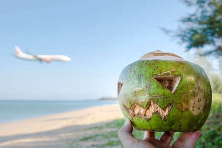 Fresh green coconut is a symbol of Halloween. With a carved face on a pumpkin. Lies on the grass on a wide sandy beach. Airplane on the background