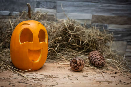 Yellow and happy smiling pumpkin. Halloween symbol on a gray stone wall background, stands on a hay and a wooden stand. Jack o lantern with fir cones near it