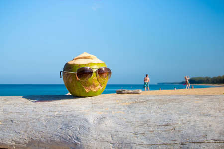Green coconut in Halloween theme with sunglasses on the beach. Holidays vacation concept