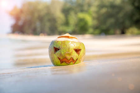 Fresh green coconut with Halloween theme at the beach. A clear sunny day on the sandy beach of a tropical island. Concept of autumn vacation on holidays