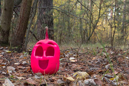 Funny and kind halloween pumpkin of pink color in the autumn forest. Stock Photo - 131574070