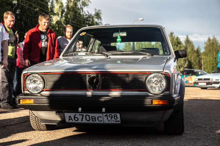 Moscow, Russia - July 06, 2019: Close-up of the front of the old vintage Volkswagen Golf with round headlights. The first generation of the car.
