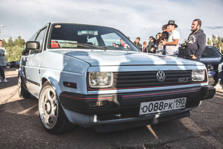 Moscow, Russia - July 6, 2019: White Volkswagen Golf of the second generation  mk2 with a modified front part, grille and headlights from a Volkswagen Jetta