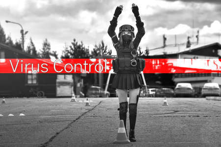 The girl in a black military uniform with a protective mask on her face. Stands with hands up. The inscription Virus control on a red background. Black and white image. The concept of the fight against the epidemic.